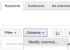 Adwords - Modify visible columns if required